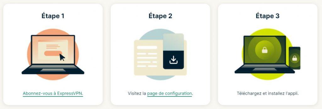 trois étapes pour installer expressvpn